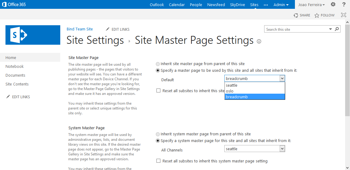 Select master page