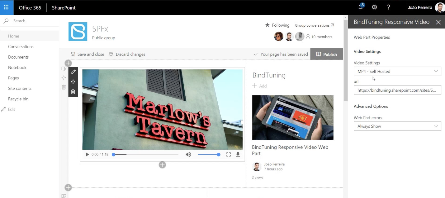 BindTuning Responsive Video Web Part SharePoint