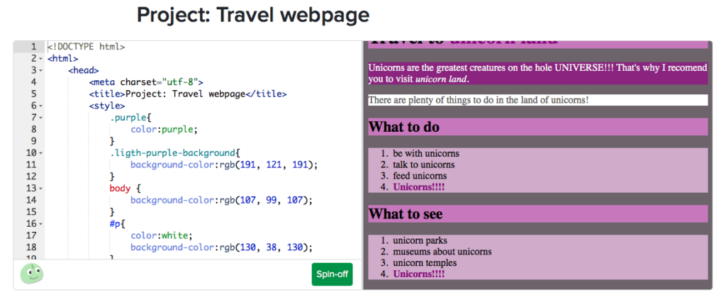 CoderDojo Travel Webpage Sample