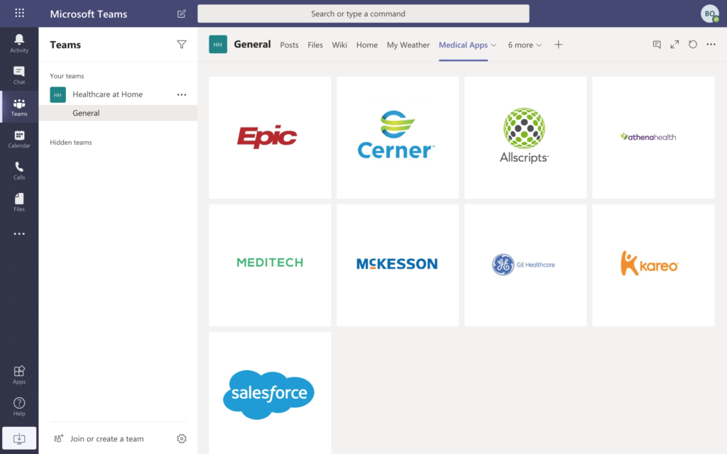 Access to healthcare apps in Microsoft Teams template
