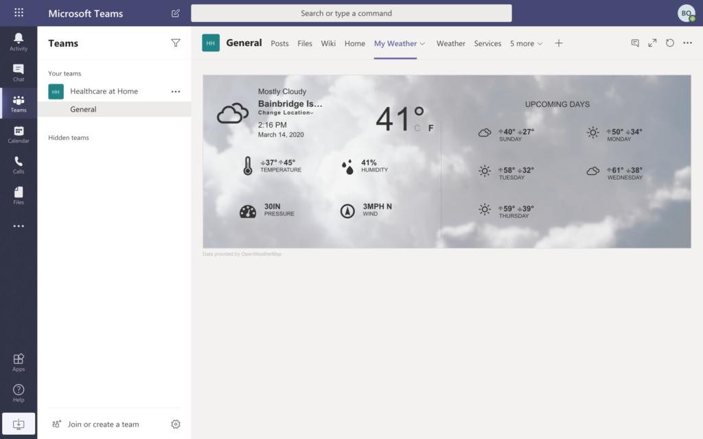 Microsoft Teams screenshot - My weather tab