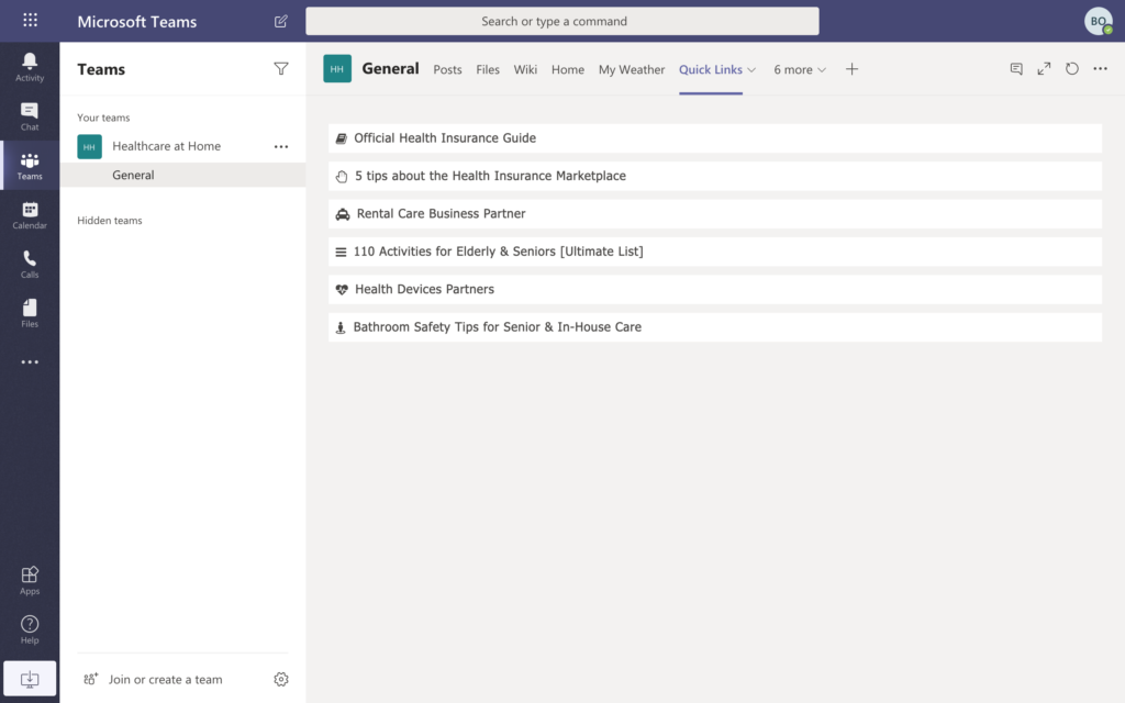 Microsoft Teams screenshot - Quick Links tab
