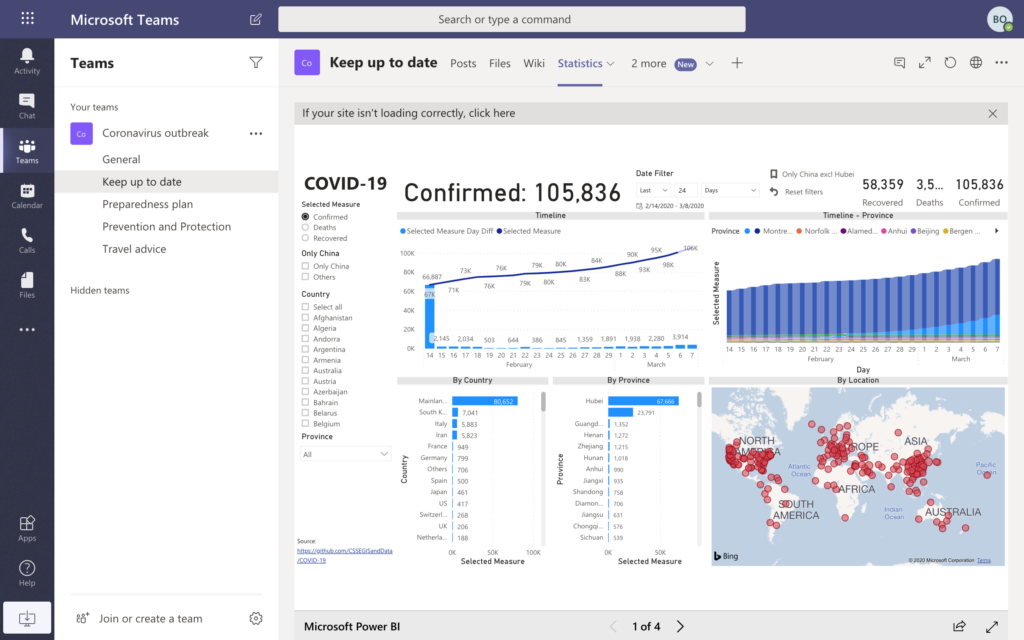 Covid19 Statistics in Microsoft Teams template