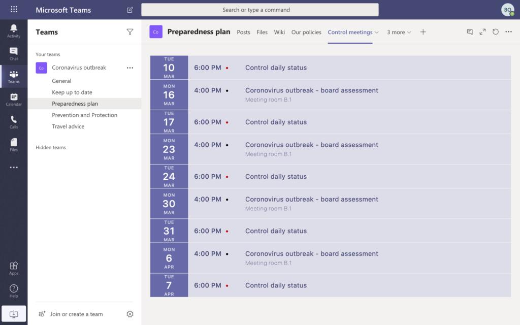Preparedness plan calendar