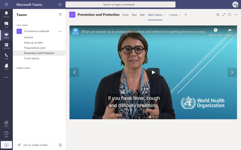 Microsoft Teams template screenshot with videos