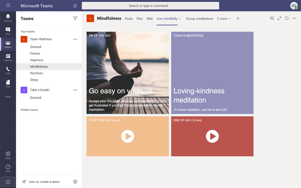 Remote employee wellness mindfulness channel dashboard