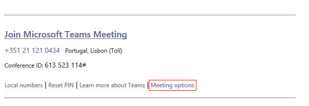 Outlook meeting options