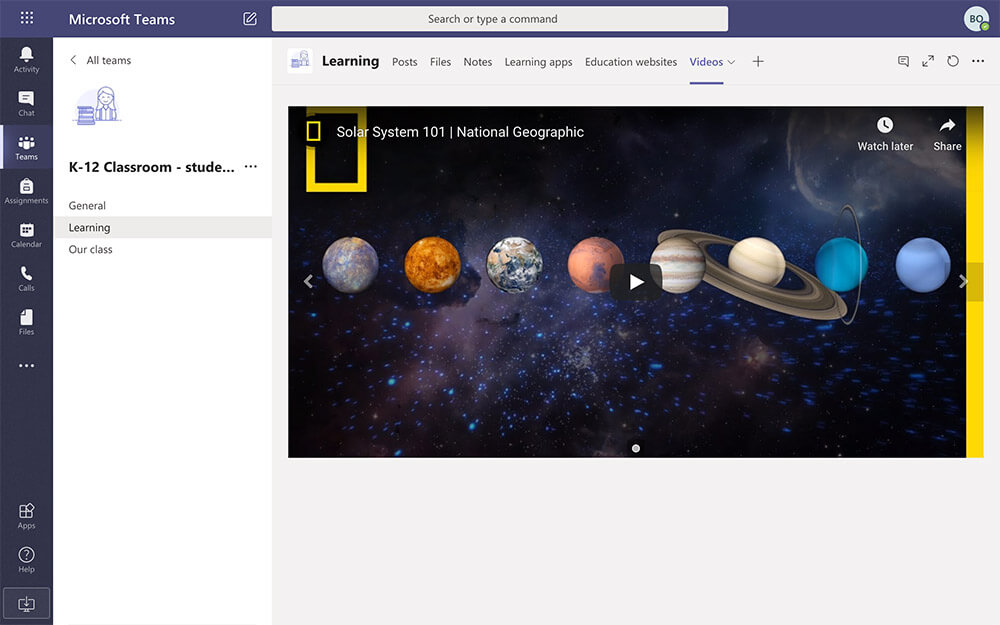 Inspirational videos in Microsoft Teams tab
