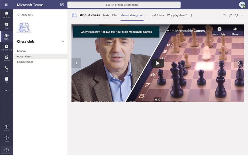 Inspiration videos in Microsoft Teams club team