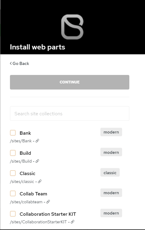 Select the sites