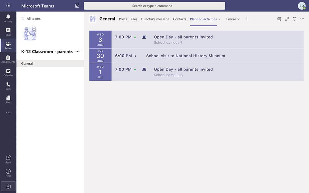 Calendar in Microsoft Teams for Education