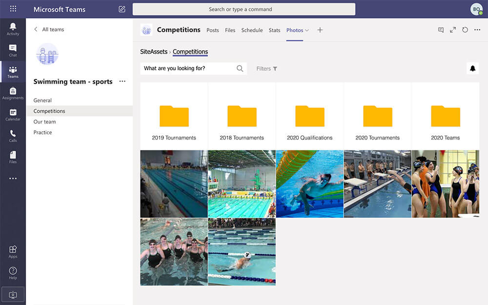 Microsoft Teams photo gallery, organized by competition