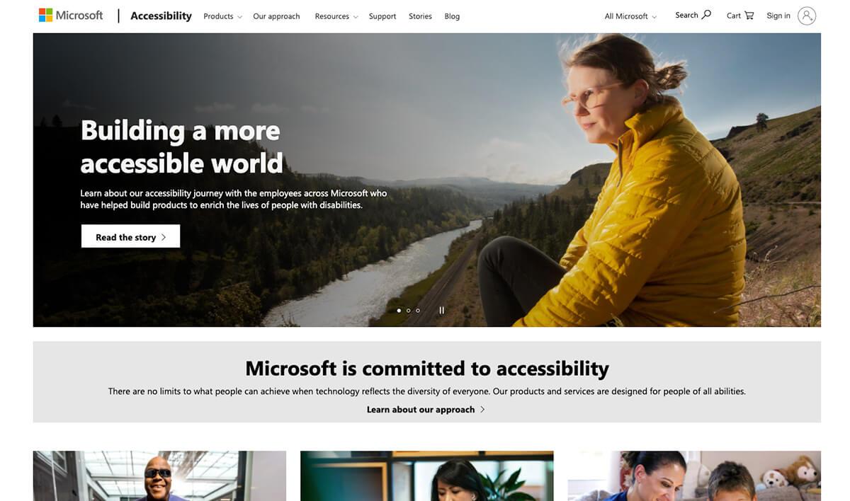 Microsoft accessibility site