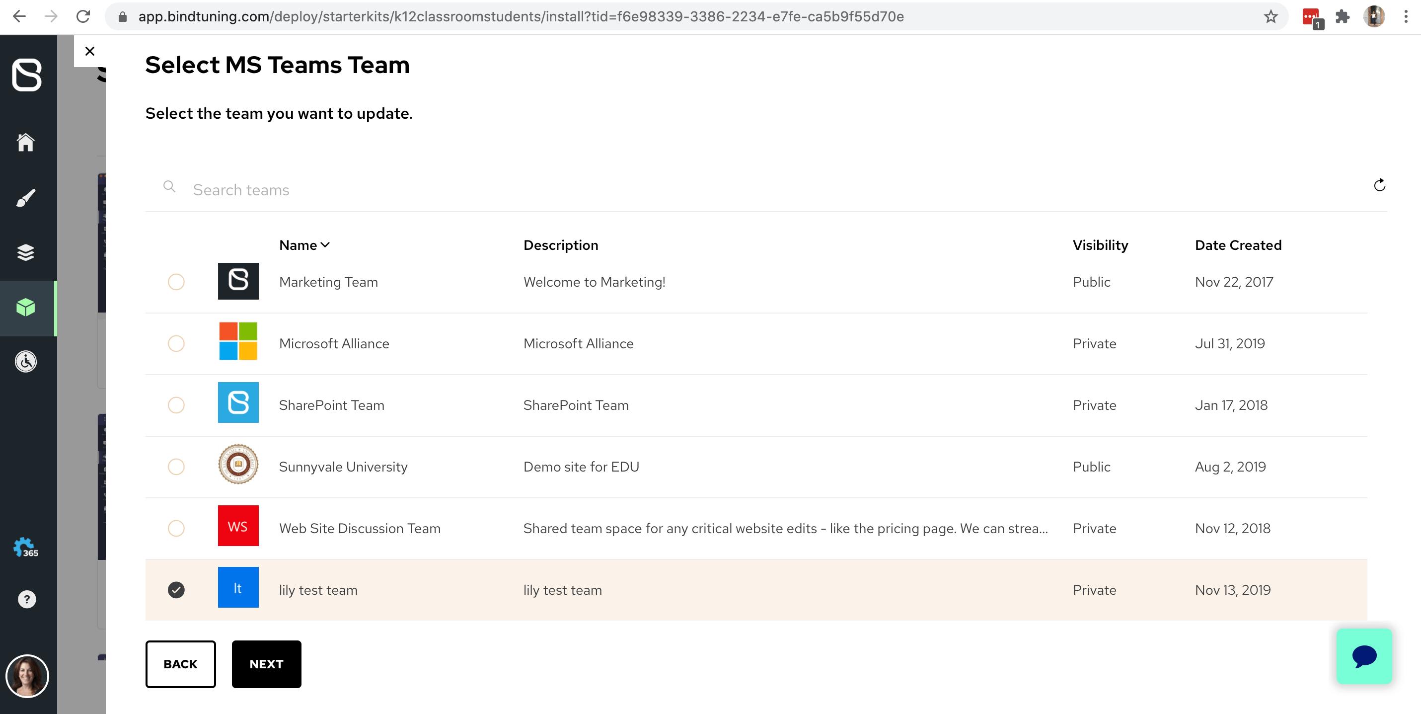 Select existing Microsoft Teams