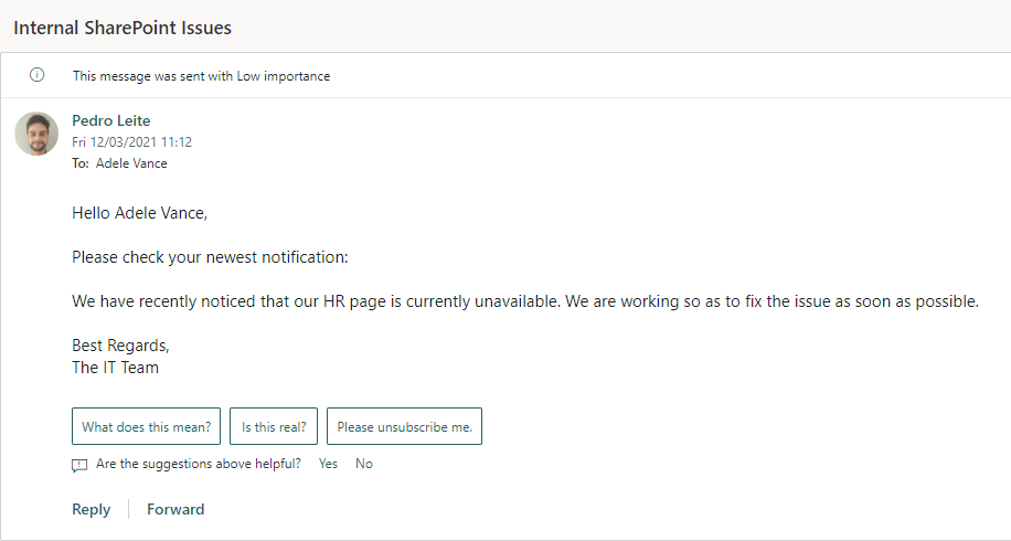 Preview of Outlook email message